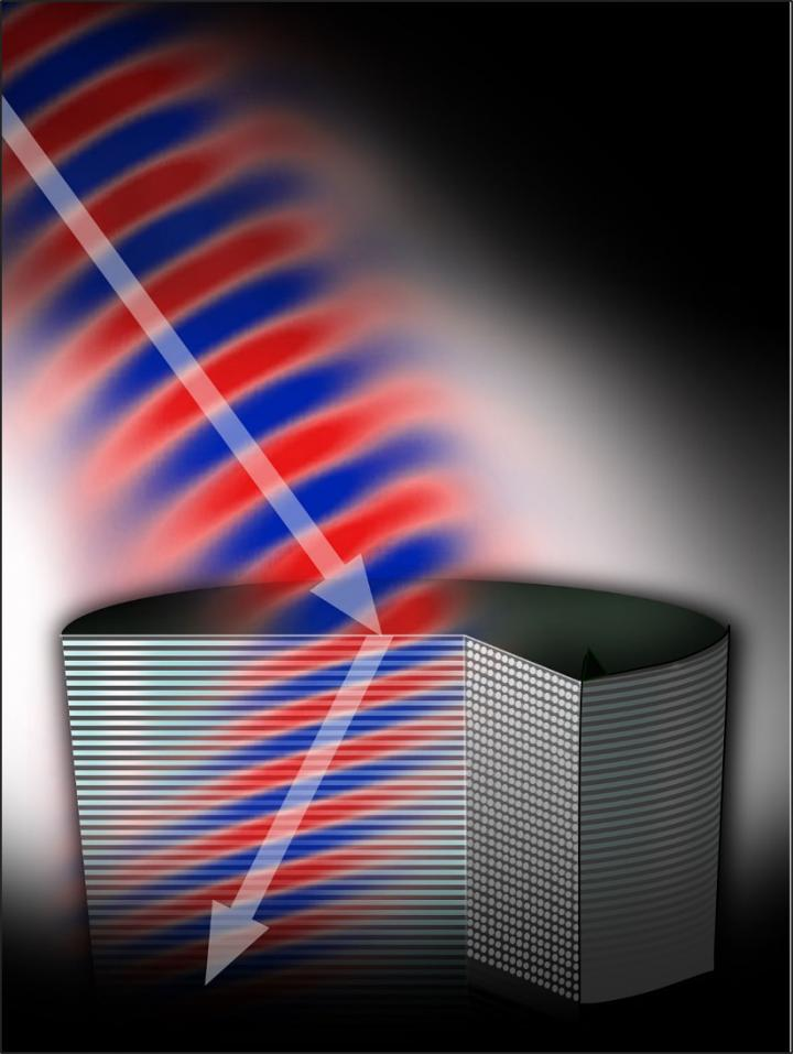 The shape and positioning of the rods in this metamaterial cause light — the arrow — to bend at a negative angle, a process called negative refraction. Better understanding of this dynamic will speed the development of new metamaterials such as perfect lenses and invisibility cloaks, says Michigan Tech's Elena Semouchkina. Source: Michigan Tech