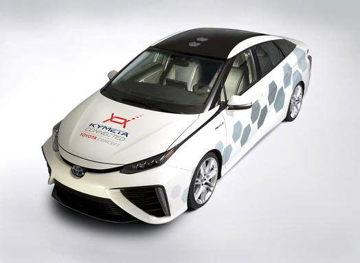 Satellite antenna-equipped Toyota Mirai Research Vehicle.