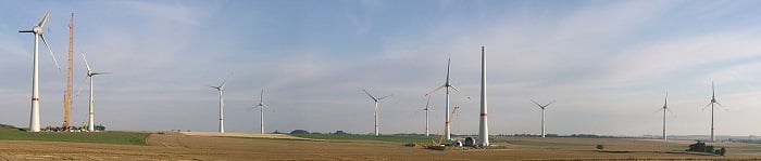 Wind farms are the typical means for harvesting wind energy.