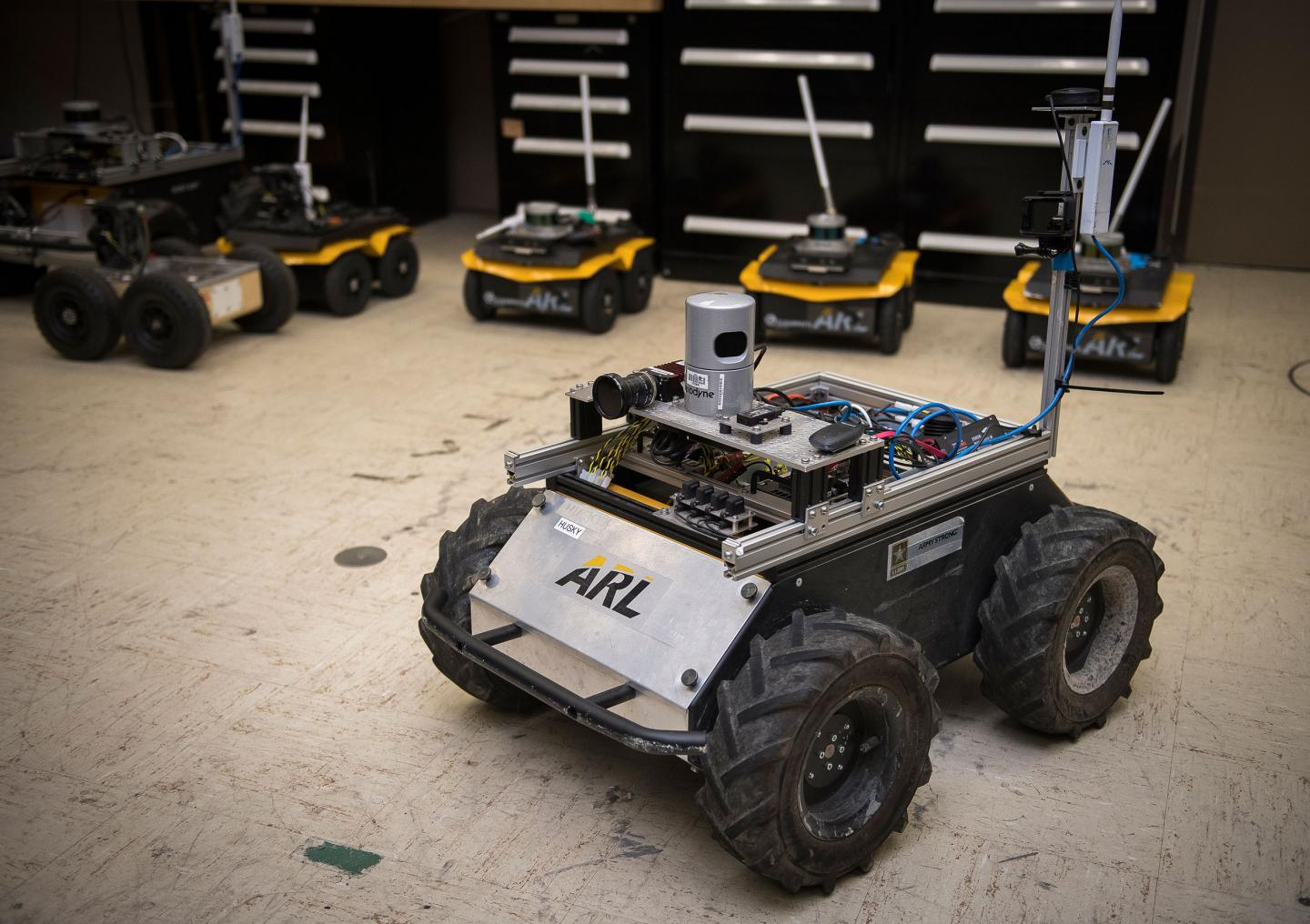 A small unmanned Clearpath Husky robot, which was used by ARL researchers to develop a new technique to quickly teach robots novel traversal behaviors with minimal human oversight. (Source: US Army)