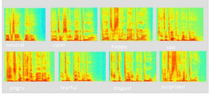 Spectrograms of the phrase 'Kids are talking by the door' pronounced with different emotions. Source: The Higher School of Economics