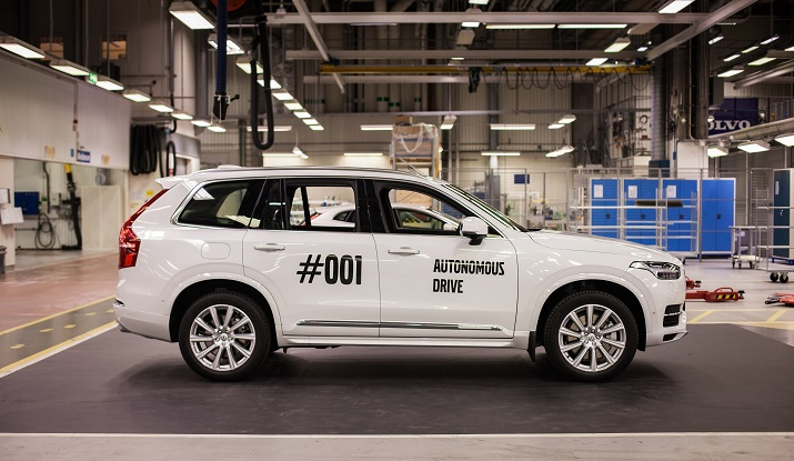 The first XC90 SUV self-driving vehicle that will be the first in a series of autonomous cars that will be used in the Gothenberg Drive Me project. Source: Volvo