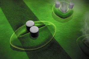 Artist's impression of the sensor comprised of conductive ink printed across a stoma with two micropillars. Source: Betsy Skrip