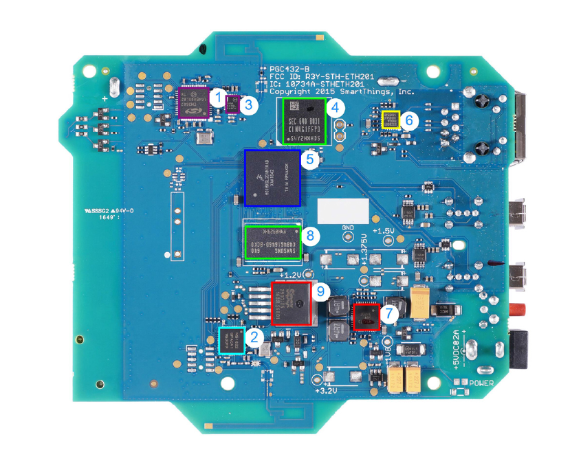 Samsung SmartThings Hub, Main PCB Top. (Image Credit: IHS)