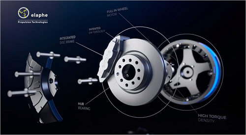 The Elaphe in-wheel motor technology included in the Icona Nucleus concept car. Source: Elaphe