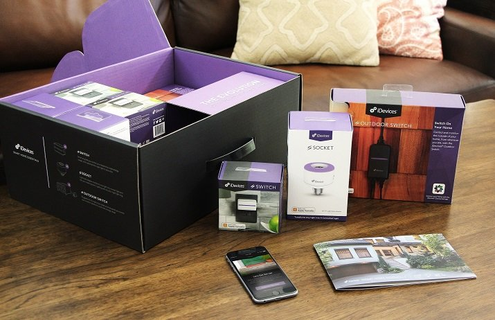 The kit includes three sockets for light bulbs, five indoor switches and two outdoor switches to enable a complete Smart Home. Source: iDevices