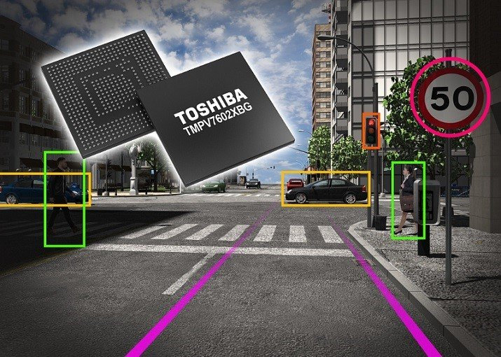 The processor includes 13 hardware-based image recognition accelerators for use in ADAS monocular cameras. Image source: Toshiba