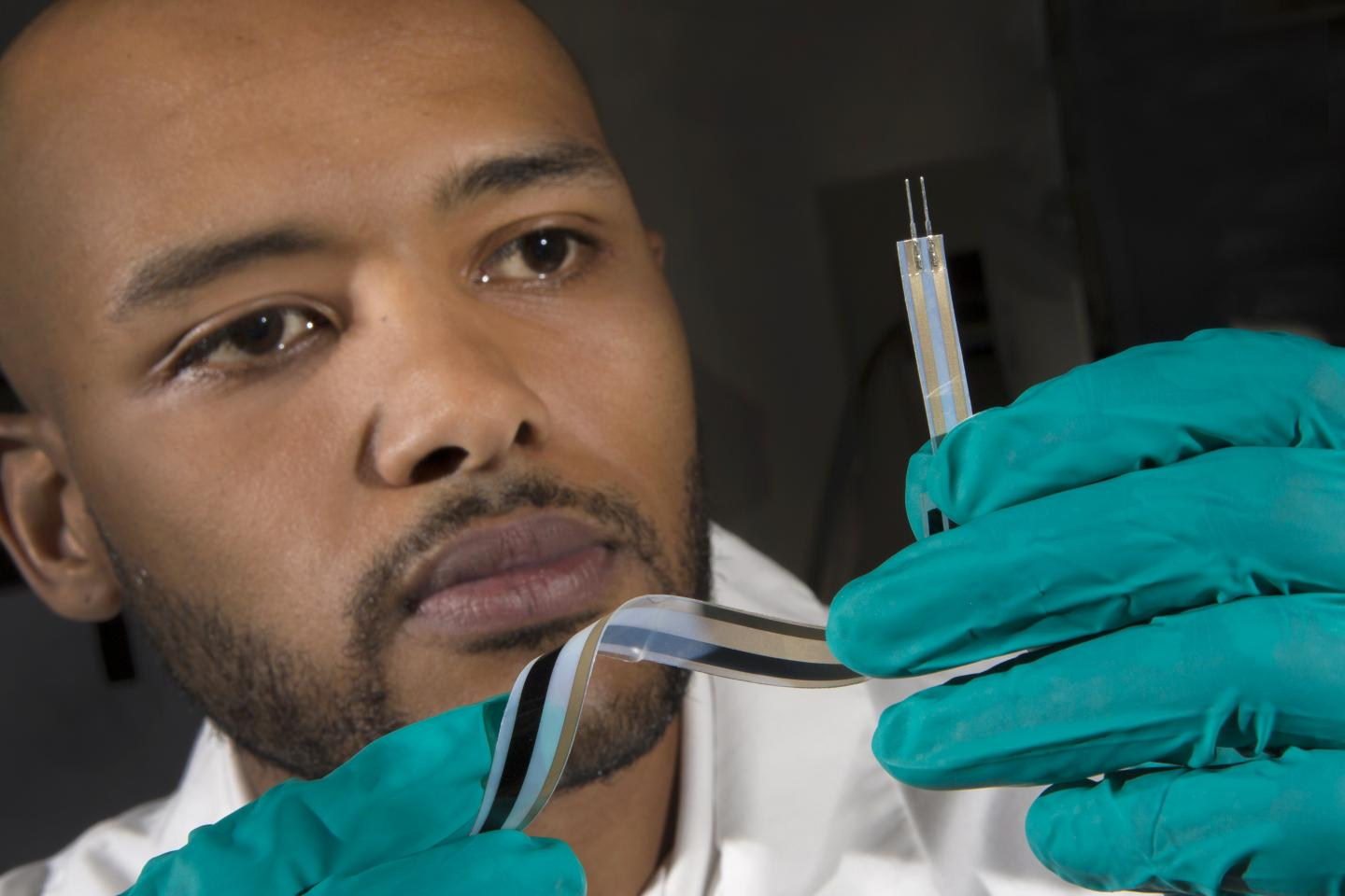 FAMU-FSU College of Engineering doctoral candidate Joshua DeGraff developed an advanced class of scalable motion sensors using silver ink electrodes and sheets of pure carbon nanotube buckypaper. (FSU)
