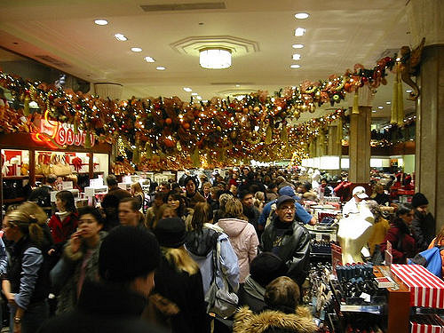 A crowded Macy's store around the holidays. Source: Eric Mueller