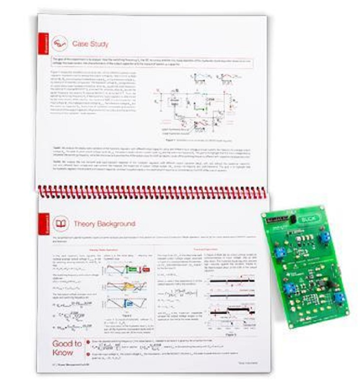 Each kit includes a circuit board and detailed experiment lab book, to guide users on waveforms, tradeoffs, performance characteristics, and parameter interactions. Image source: Texas Instruments.