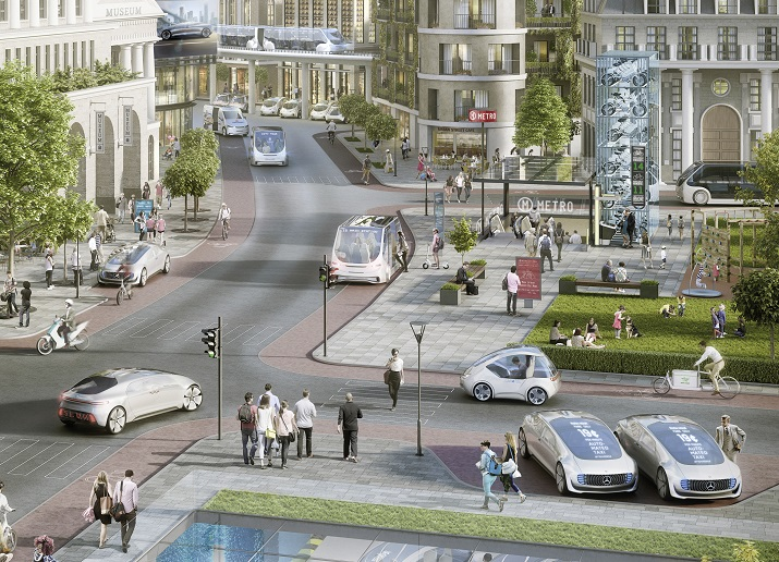 A concept of Daimler and Bosch's goal to bring robot taxis or car sharing to urban areas using just a smartphone. Image credit: Daimler