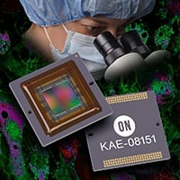 ON Semiconductor's KAE 08151 incorporates electron-multiplying charge-coupled device technology and an optional thermoelectric cooler, allowing operation from sub-lux to extremely bright lighting levels.  Image source: ON Semiconductor.
