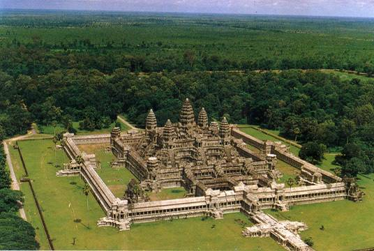 An aerial photograph of Angkor Wat