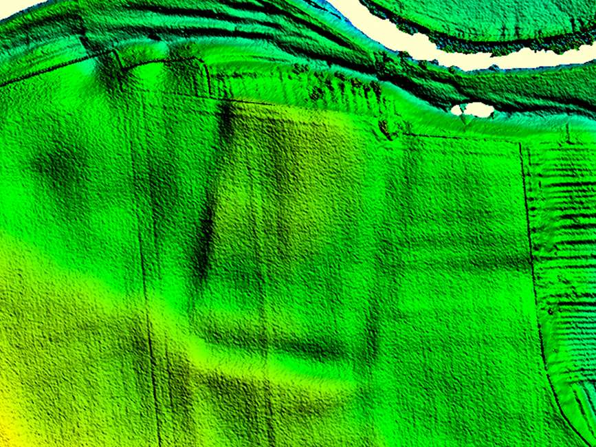 An image of the Roman fort at Newton Kyme showing as a  slight earthwork on LiDAR imagery'  © UK Environment Agency copyright 2008.