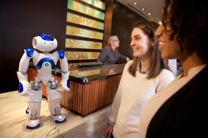 Visitors to the Hilton meet Connie. (Image Credit: Green Buzz Agency/Feature Photo Service for IBM)