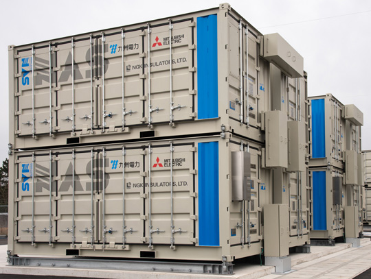 A double stacked energy storage module that was installed at Kyushu Electric Power Co. Source: Mitsubishi Electric
