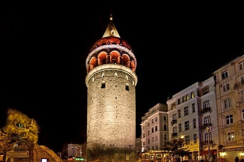 The Galata Tower in Istanbul, Turkey, with its architectural LED lighting. Image credit: Philips Lighting