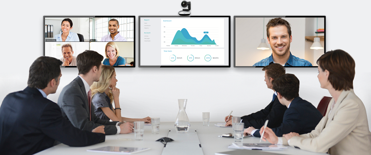 The three screen approach to conference rooms allows for more display options such as showing the active speaker, gallery view and shared content. Source: Zoom Video