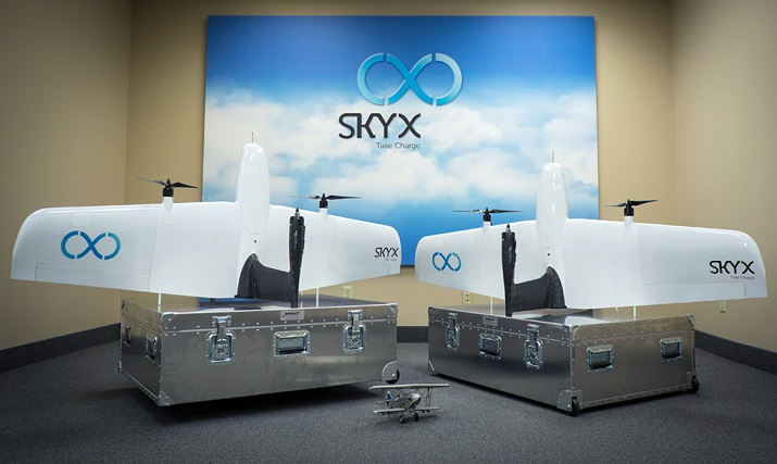SkyX's SkyOne drone can travel at up to 93 miles per hour for 70 minutes before having to recharge while still in the air. Image credit: SkyX