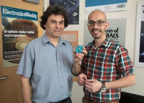 Richard Kaner and Maher El-Kady in Kaner's office. Kaner  is holding a replica of a new energy storage and conversion  device they developed.  Source: Reed Hutchinson/UCLA