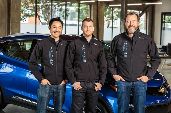 GM president Dan Ammann (right) appears with Cruise Automation co-founders Kyle Vogt (center) and Daniel Kan (left). Source: GM