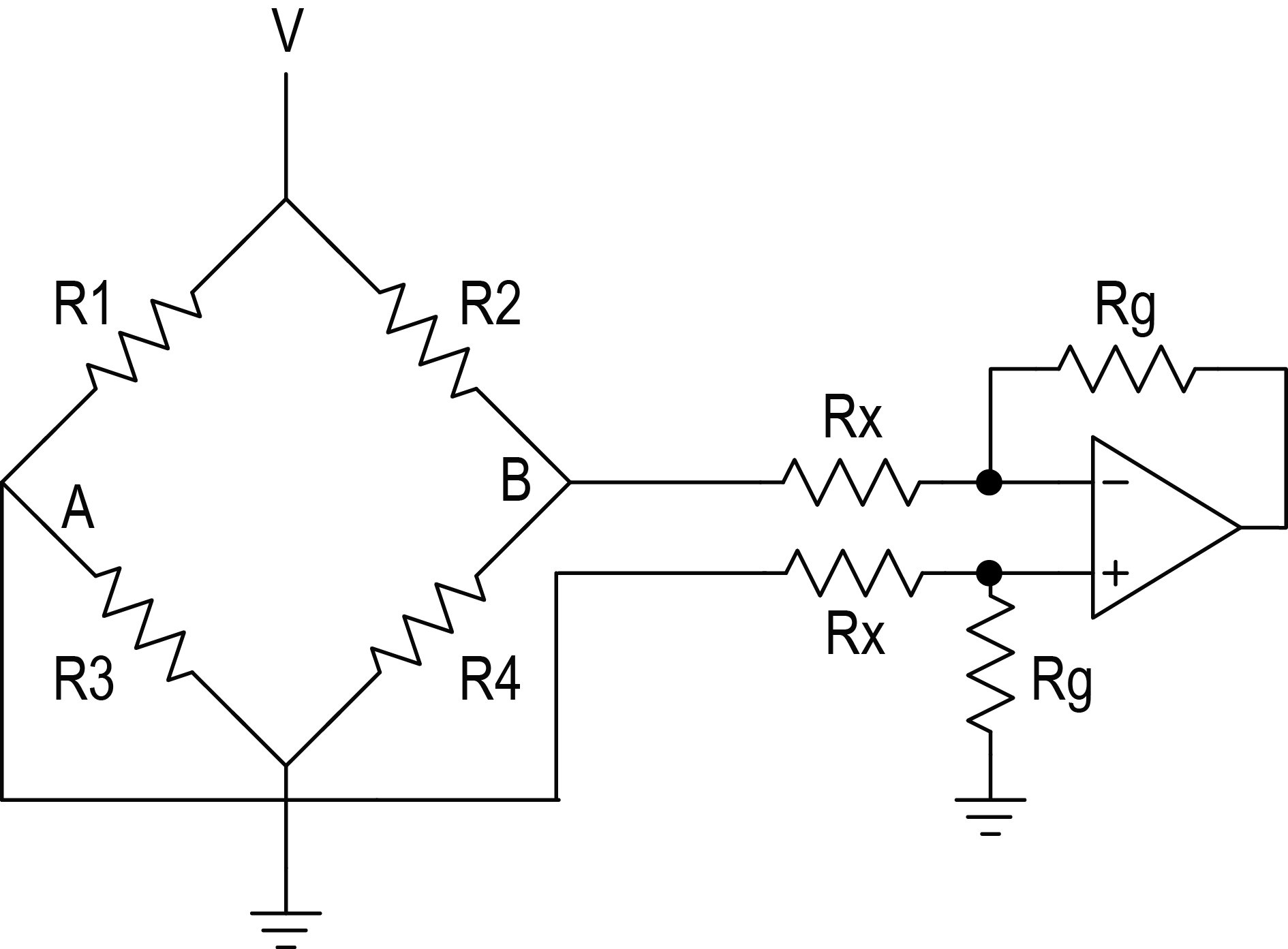 design notebook linearization of a wheatstone bridge electronics360an instrumentation amplifier connected to the original bridge circuit of figure 1