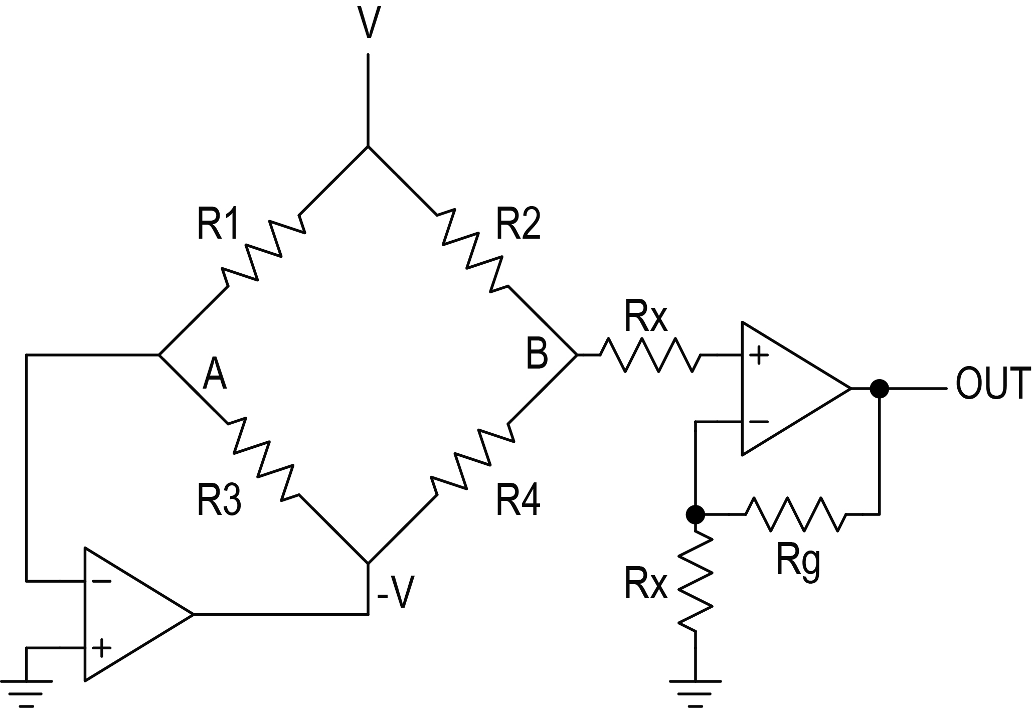 This circuit replaces the complex instrumentation amplifier (Figure3) with  two op