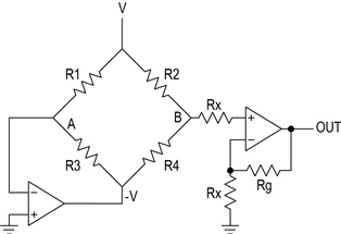 Figure 4. This circuit replaces the complex instrumentation amplifier (Figure3) with two op amps.