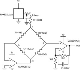 Figure 6. The MAX44267 precision, low-noise, low-drift, dual op amp offers a true-zero output from a single supply.
