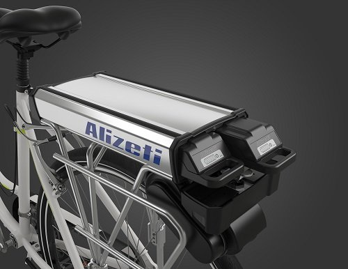 Two batteries allows the e-bike to travel about 40 miles. Source: Alizeti