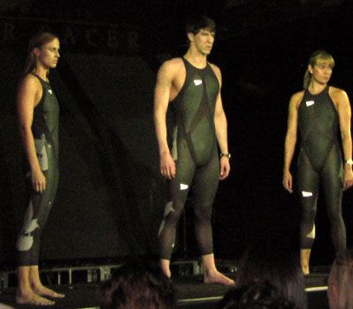 The unveiling of Speedo's LZR Racer suit in 2008.