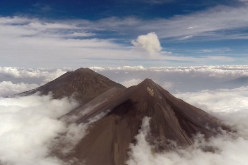 An aerial photo of the Volcán de Fuego and Volcán de Pacaya volcanoes in Guatamala. Source: University of Bristol
