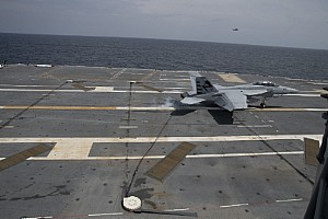 An F/A-18F Super Hornet performs an arrested landing aboard USS Gerald R. Ford. (CVN 78). Image credit: Mass Communication Specialist 3rd Class Cathrine Campbell/Released
