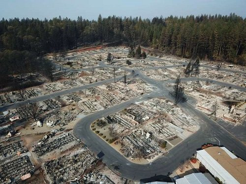 A DJI drone photo of Paradise, California, after the fires devastated the town in November. Source: DJO