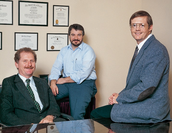 NI founders Dr. James Truchard, Jeff Kodosky and Bill Nowlin, 1989.