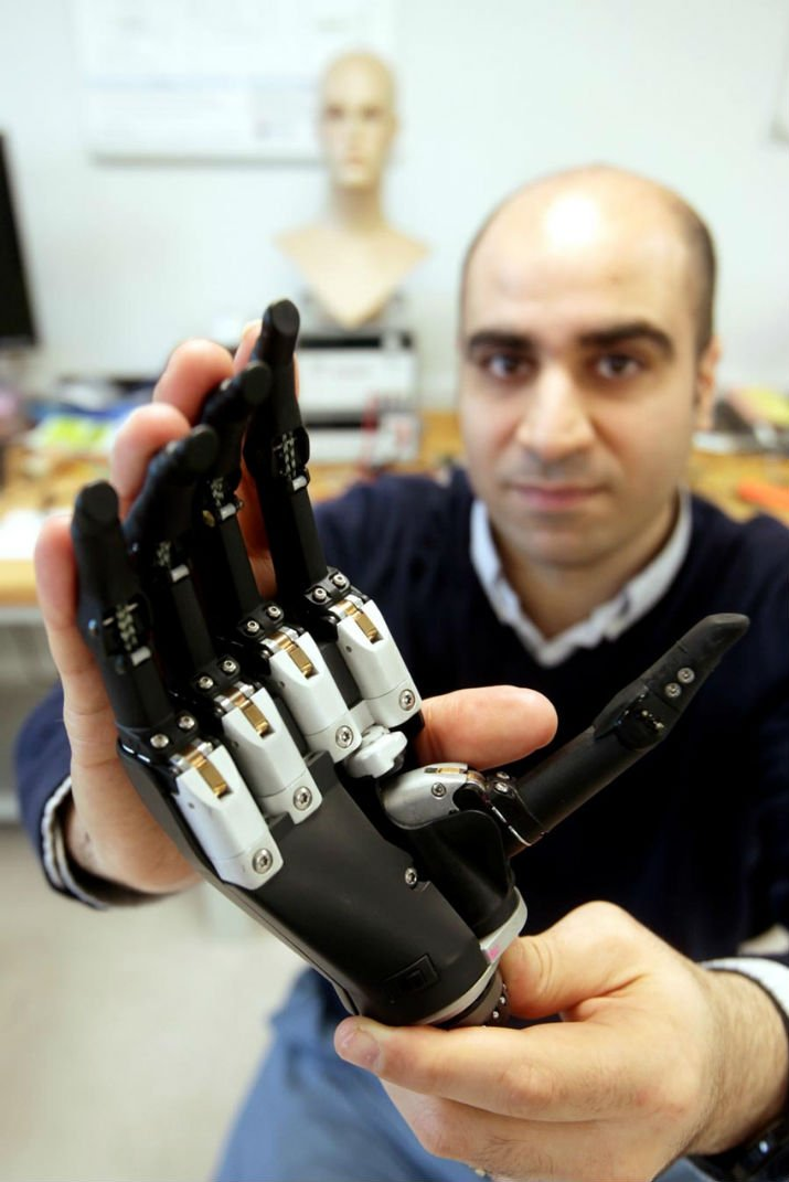 Dr. Kianoush Nazarpour with a prosthetic hand. (Image Credit: Newcastle University)