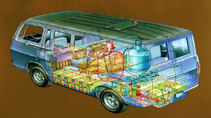 This technical art shows the Electrovan's interior crammed with fuel cell componentry that left room for only a driver and two passengers. (Image via GM)