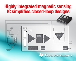 Figure 1 - The DRV421 magnetic-sensing IC from Texas Instruments provides accurate, non-contact current sensing for motor control and energy management in a 4 by 4-mm package, via its combination of fluxgate sensor, signal conditioning, and compensation-coil driver.