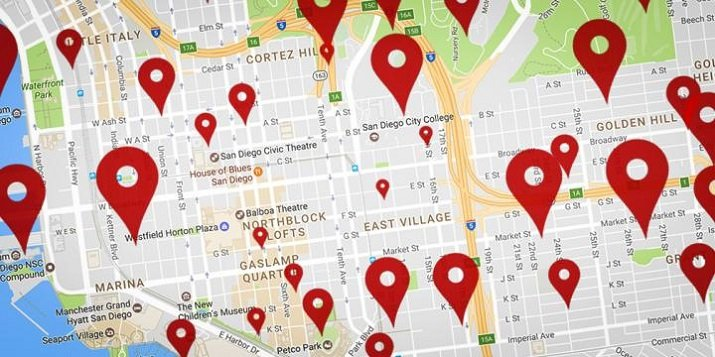 Fake businesses fool Google Maps by appearing close to a user when it is much farther away in reality. Image credit: UC San Diego
