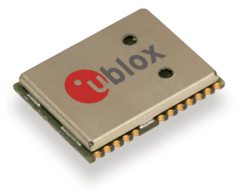 u-blox's NEO-M8P GNSS receiver module integrates real-time kinematic (RTK) technology for precision position fixes, relative to a base station module. Image source: u-blox.