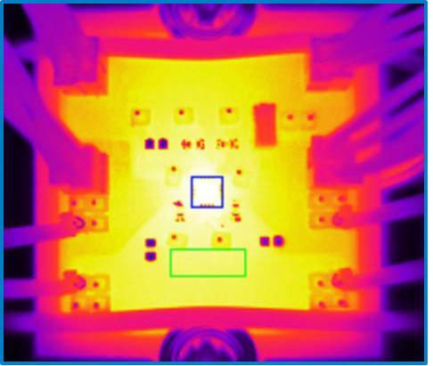 Thermal image of the ADP1763 Evaluation Board at ILOAD = 3 A, VIN = 1.5 V, VOUT = 1.3 V, TBoard = 92°C. Image source: Analog Devices, Inc.