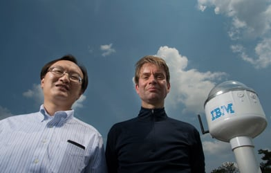 Siyuan Lu (left) and Hendrik Hamann (right) are members of the Physical Analytics team at IBM Research working on improving the accuracy of solar forecasting by using machine learning and Big Data analytics. (Jon Simon/Feature Photo Service for IBM)