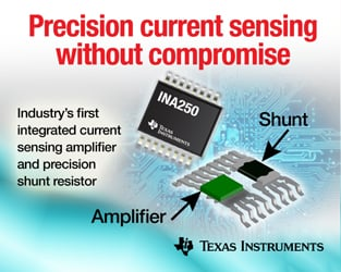 Figure 2: The INA250 from Texas Instruments packs the sense resistor and differential amplifier in a single compact package, which brings many benefits to the circuit layout and BOM.