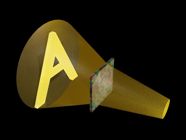 Computer rendering of a sound wave that traveled through an array of acoustic metamaterial and was shaped into a pattern like the letter A one foot past the array. This pattern could not be seen, only heard. (Image Credit: Steve Cummer, Duke University)