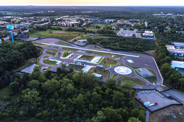Mcity campus where testing of connected and driverless vehicles can be done safely on the road to mass production. Source: University of Michigan