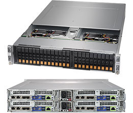 The BigTwin system that supports up to 24 NVMe drives in 2U. Image credit: Super Micro Computer Inc.