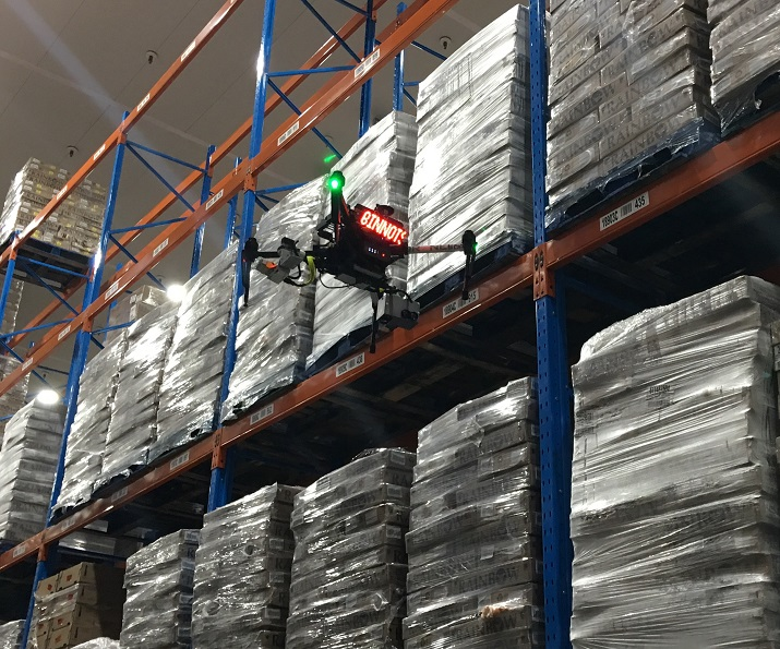 DroneScan's RFID drones are able to accurately and quickly tag inventory in large factories with large racks of goods. Source: DroneScan