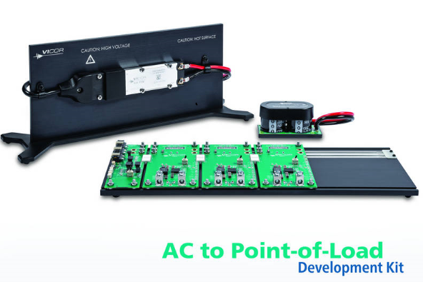 The AC to point-of-load (PoL) development kit comprises an AC front-end chassis, which receives power from the AC line and delivers up to 400 watts of power via an isolated, regulated, distribution bus voltage, and a PoL chassis, which receives the distribution bus voltage and generates three independent regulated DC outputs.