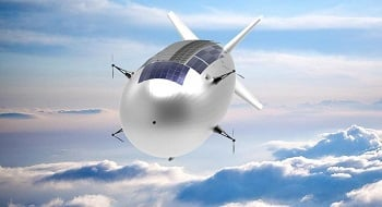 The blimp-like Stratobus concept developed by Thales Alenia Space. A test flight is expected to take place in 2021. Source: Thales Alenia Space/Briot via ESA
