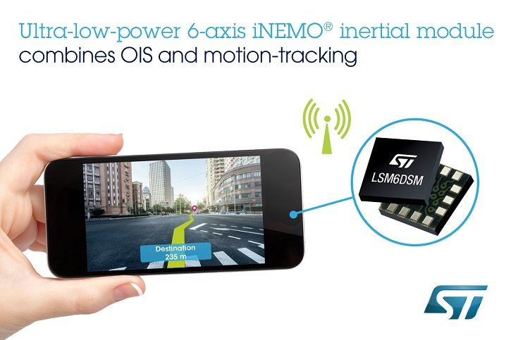 "STMicroelectronics's LSM6DSL and LSM6DSM inertial modules support ""always-on"" motion tracking as well as optical image stabilization. (Source: STMicroelectronics)"